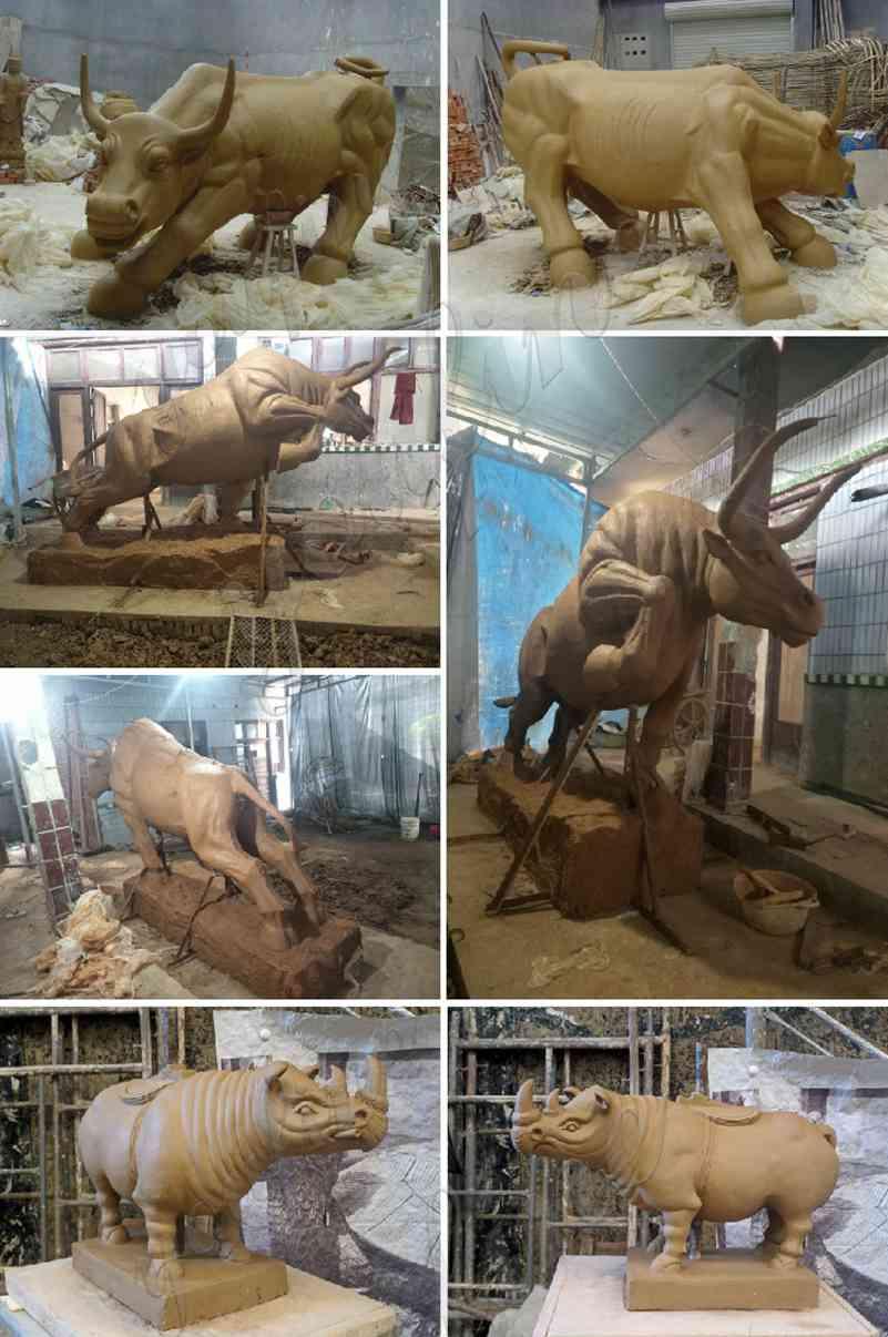 Large Garden Golden Bronze Pioneer Bull Statue