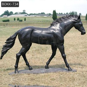 Life Size Black Bronze Standing Horse Statue for Sale BOKK-734