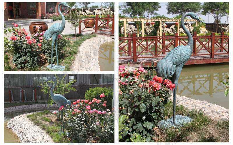 Life Size Bronze Crane Bird Statue for Garden detail