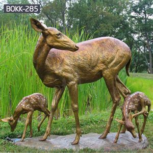 Outdoor Garden Bronze Doe and Fawn Statues for Sale BOKK-285