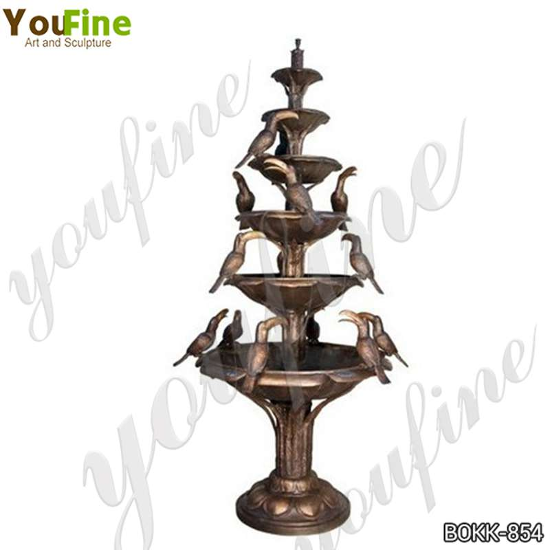Outdoor Tiered Bronze Fountain with Pelican Statues for Sale