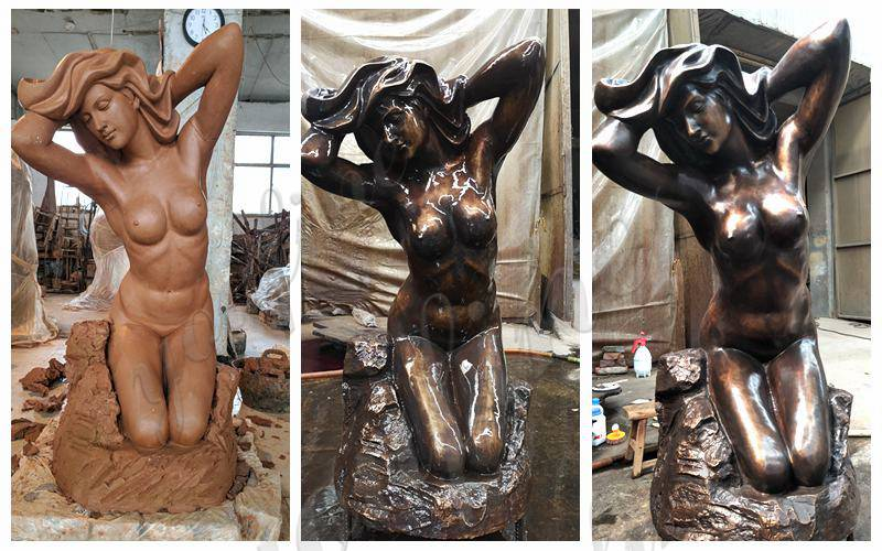 antique Modern Bronze Nude Girl Statue for Sale