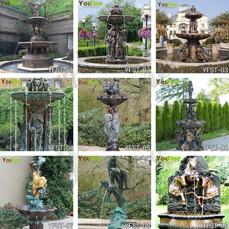 bronze water fountain statues