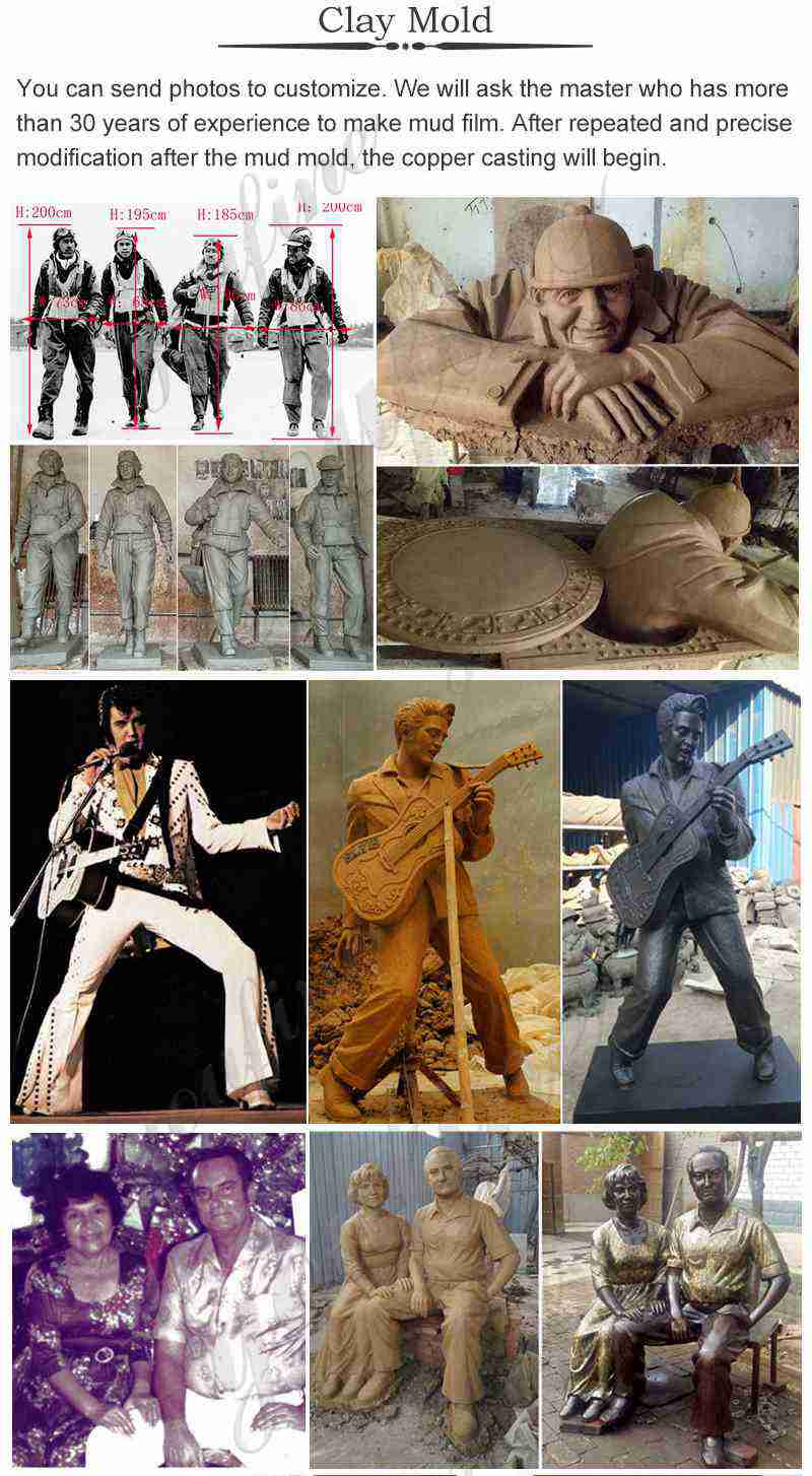 custom clay model of bronze statues
