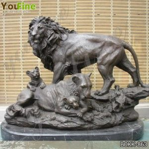 Antique Bronze Family Lion Statue for Garden Decor Suppliers BOKK-863