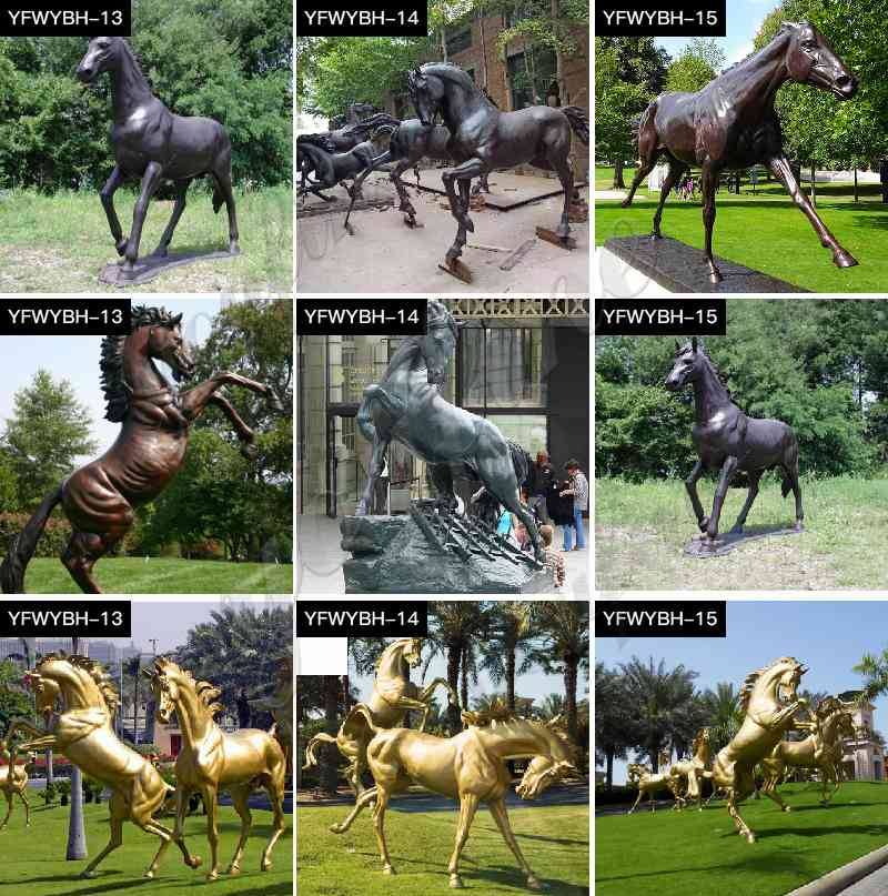 Bronze Mare and Filly Horse Statues