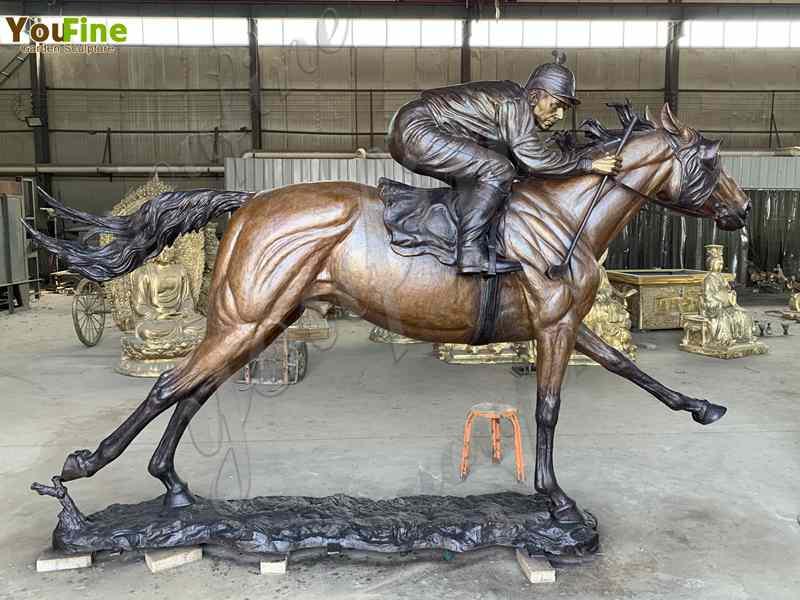 Bronze racing horse statue