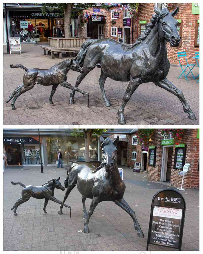 Large Bronze Mare and Filly Horse Statues