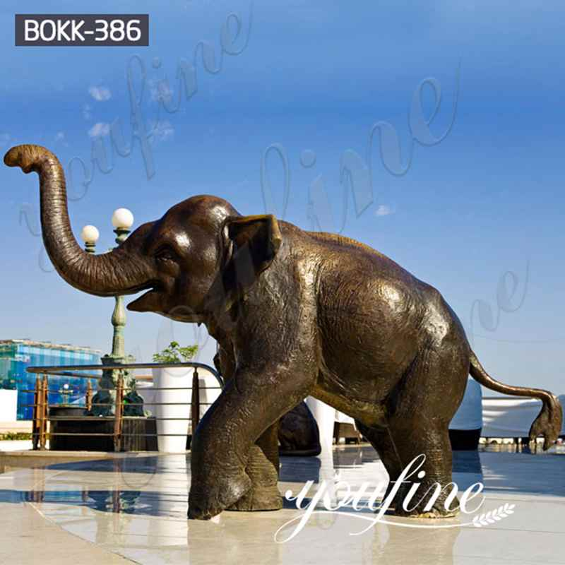 Large Bronze Trunk Up Elephant Statues for Garden Factory Direct