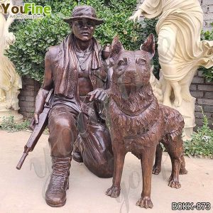Life Size Garden Bronze Soldier and Dog Statue Suppliers BOKK-873