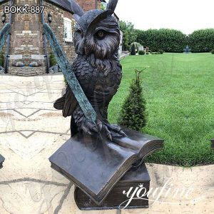 Life Size Outdoor Bronze Owl Standing on Book Statue on Sale BOKK-887