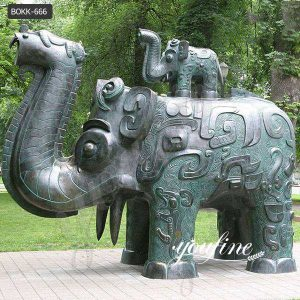 Outdoor Large Bronze Elephant Sculpture of Da Tung and Xi'an Bao Bao for Sale BOKK-666