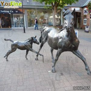 Outdoor Large Bronze Mare and Filly Horse Statues for Sale BOKK-865