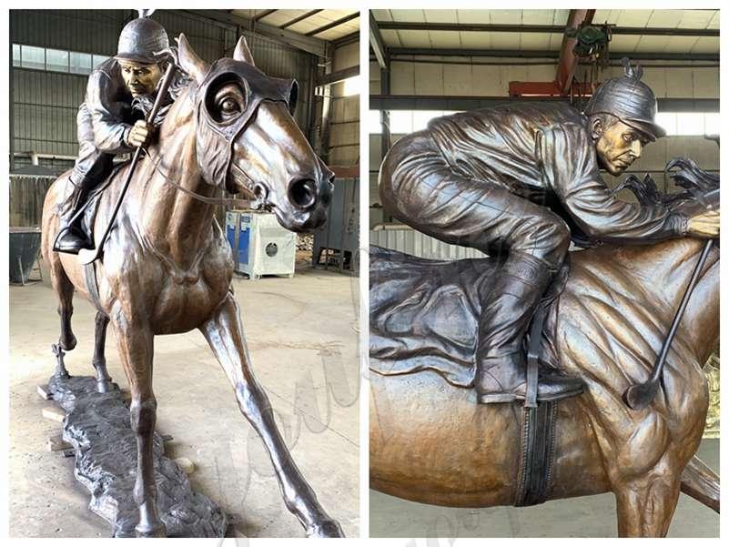 horse racing bronze statue
