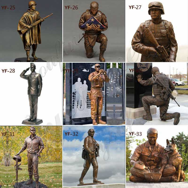 life size bronze statues military for sale