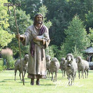 Catholic Religious Outdoor Bronze Jesus Leading Sheep Statue for Sale BOKK-623