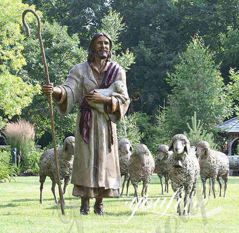 Catholic Religious Outdoor Bronze Jesus Leading Sheep Statue for Sale