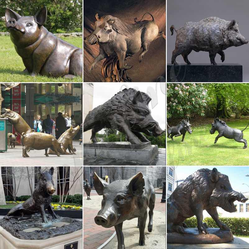 Life size bronze pig statue