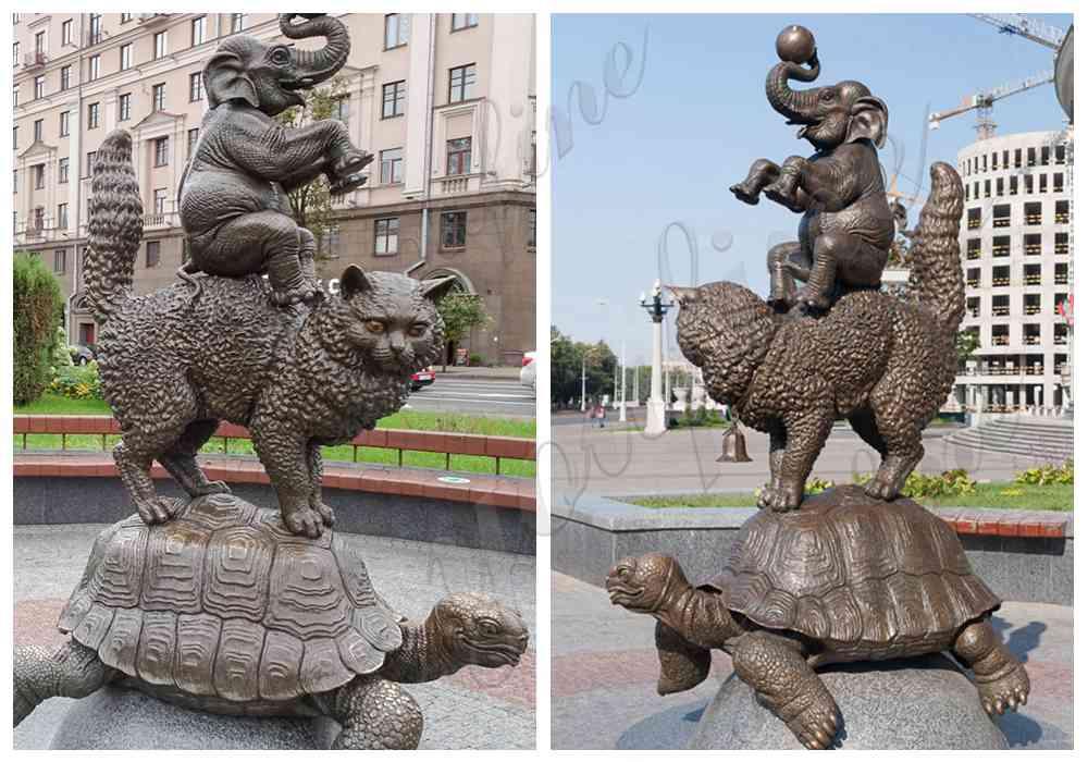 Outdoor Bronze Tortoise Cat Elephant Animal Statue Garden Decor