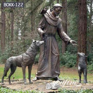 Religious Bronze St Francis of Assisi and Animal Statue for Sale BOKK-122