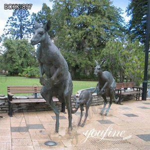 Life Size Garden Bronze Jumping kangaroo Statues for Sale BOKK-897