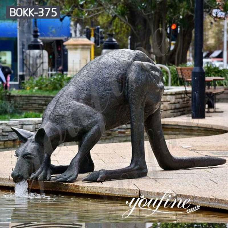 Life Size Cast Bronze Kangaroo Sculpture Garden Decor for Sale