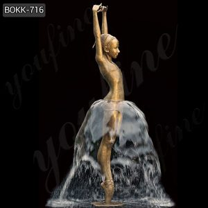Life Size Ballet Girl Bronze Water Fountain Statues Garden Decor for Sale BOKK-716