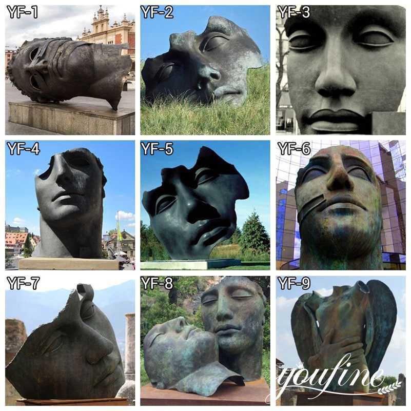 Outdoor Igor Mitoraj Bronze Face Sculpture Custom Bronze Statues