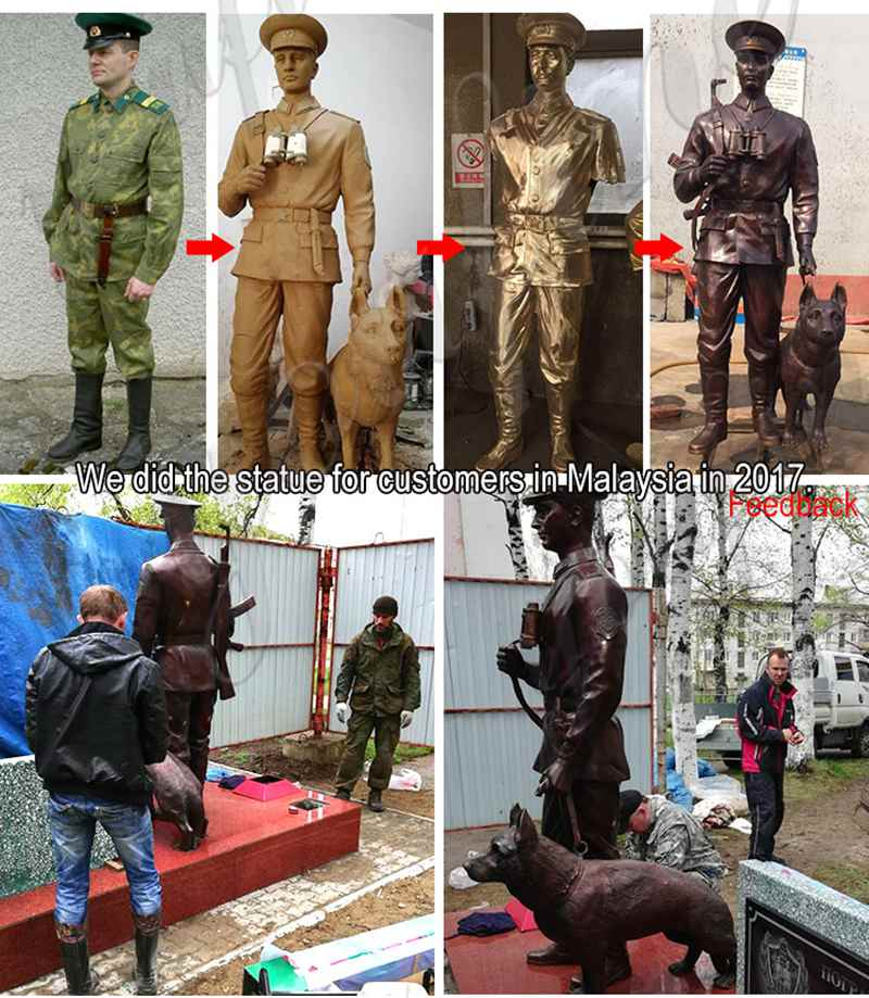 bronze military soldier statue