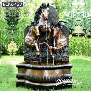 Antique Bronze Horse Wall Fountain Outdoor Garden Park Decor for Sale BOKK-427