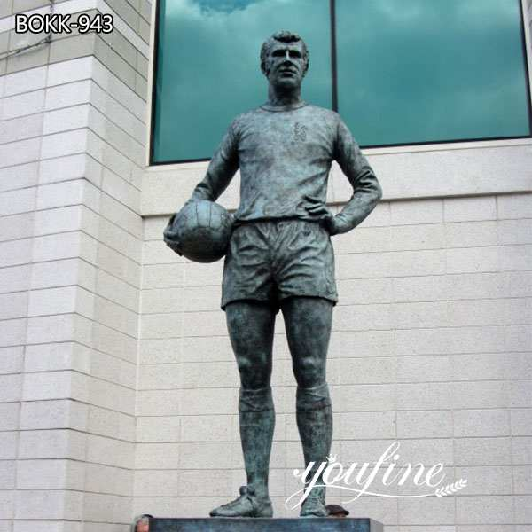 Custom Made Life Size Bronze Player and Football Statue for Sale