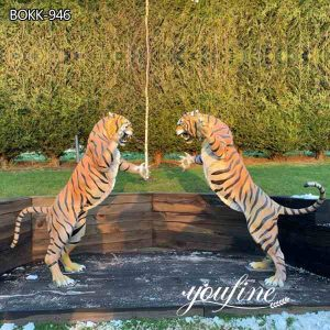 Custom Made Outdoor Bronze Tiger Statues Garden Decor for Sale BOKK-946