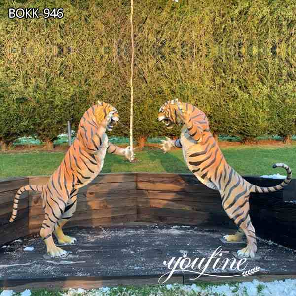 Custom Made Outdoor Bronze Tiger Statues Garden Decor for Sale
