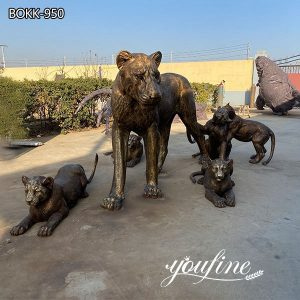 Large Bronze Lion Family Statue Outdoor Zoo Garden Decor for Sale BOKK-950