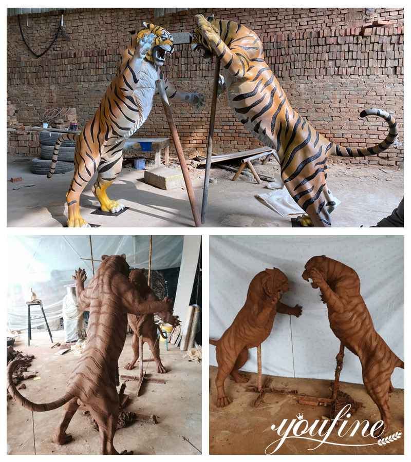 Outdoor bronze tiger statue