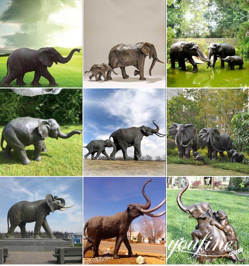 bronze elephant garden statue