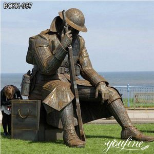 Super Large Bronze Soldier Statues Outdoor Decor for Sale BOKK-935