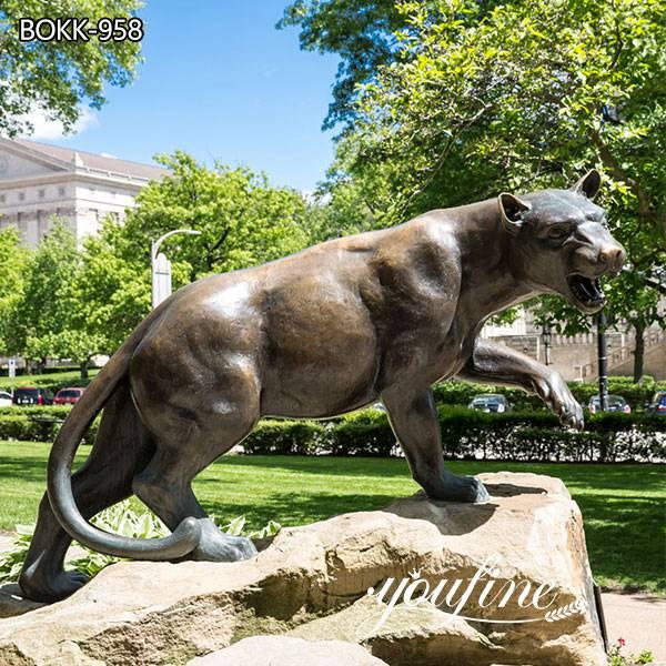 Life Size Outdoor Leopard Bronze Statue Campus Decor for Sale
