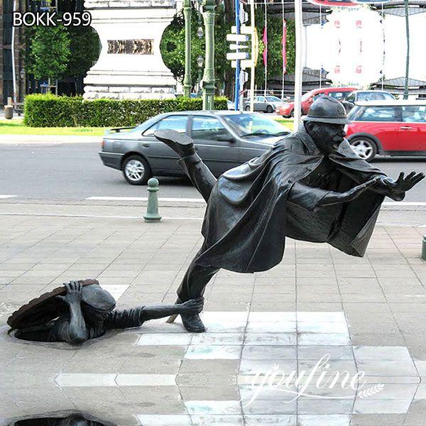 Life Size Vaartkapoen Bronze Statue Street Landscape Sculpture for Sale