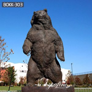 Outdoor Large Standing Bronze Grizzly Bear Statues BOKK-303