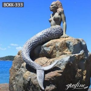 Bronze Mermaid Statue Sitting on Rock for Beach Style Sale BOKK-333