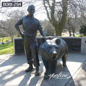Hot Sale Bronze Bear and Breeder Statues Zoo Decoration Supplier BOKK-294