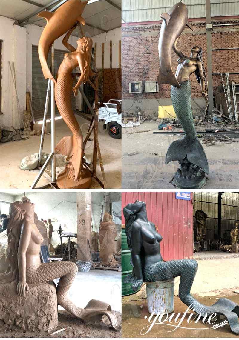 Bronze Outdoor Mermaid Statue Seaside Decor