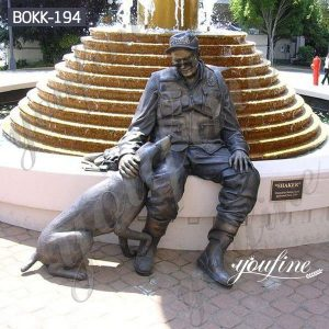 Life Size Bronze Old Soldier and Dog Sculpture Monument for Sale BOKK-194