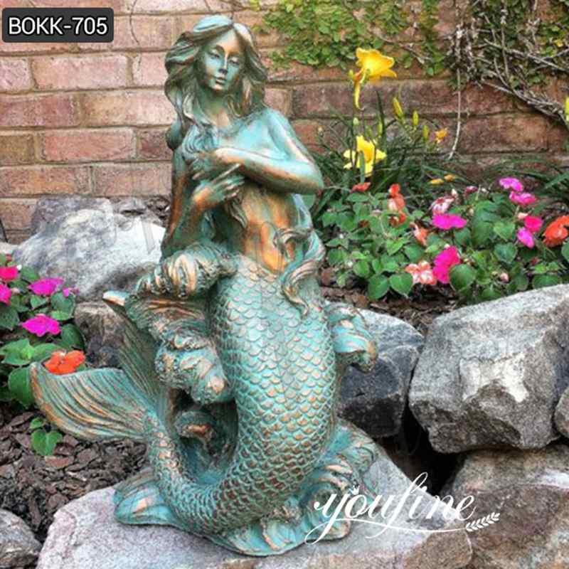 Life Size Bronze Outdoor Mermaid Statue Seaside Decor for Sale