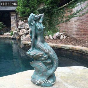 Outdoor Life Size Bronze Mermaid Sculpture for Sale
