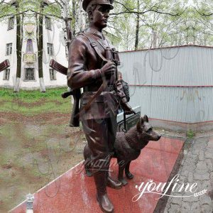 Casting Custom Bronze Soldier and Dog sculpture Monument for Sale BOKK-439