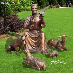 Catholic Bronze St Francis Statue and Animal for Sale BOKK-965