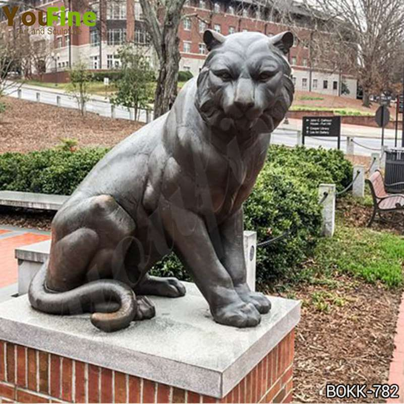 Life Size Bronze Tiger Statue School Decor for Sale