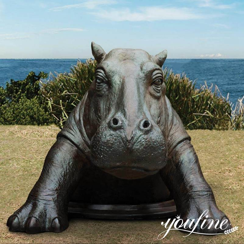 1 Bronze Come Out Hippo Statue Outdoor Garden for Sale
